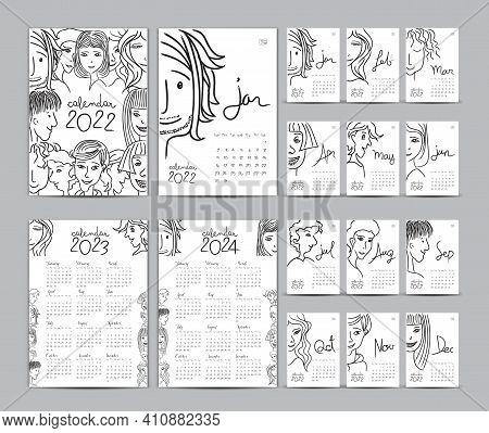 Desk Calendar 2022 Template Set, Calendar 2023-2024, Lettering Calendar, Hand-drawn Cartoon Hipster