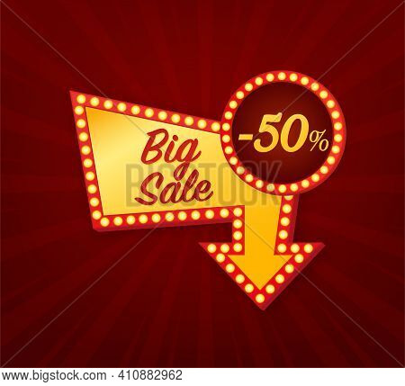 Big Sale -50 Percent Concept. Black Friday Sign. Black Friday Sale Neon Banner. Vector Design. Light
