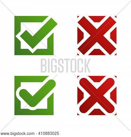 Check Mark Cross Isolated Elements. Green Check Mark And Red Cross In Two Variants. Stock Vector.