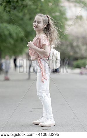Full Of Energy. Girl Carefree Child. Kid Long Hair Enjoy Walking. Summer Holidays. Little Child Enjo