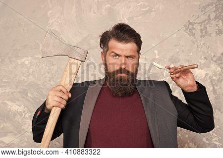 Real Blade. Brutal Methods. Old Weapon. Barbershop Hairstyle. Brutal Barber. Daring Barber Concept.