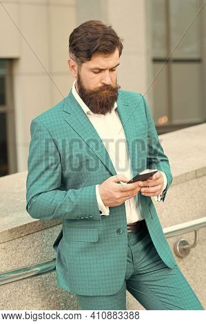 Text Messaging. Mobile Communication. Email Message. Contact List. Online Business. Bearded Man With