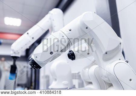 Automatic Mechanical Hand Robot For Programming. Modern Industrial Manipulator Arm Technology