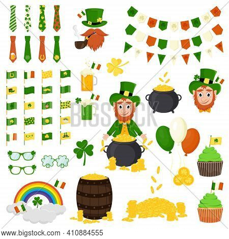 St. Patrick's Day Vector Icons Set Isolated On A White Background. Flat Style, Cartoon Style Element