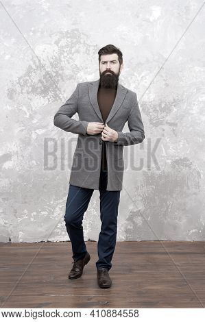 Amazing Look. Man Handsome Bearded Businessman Wear Luxury Formal Suit. Menswear And Fashion Concept
