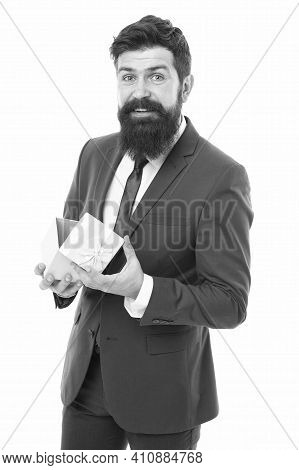 Own Business. Bearded Man Hold Valentines Present. Businessman In Formal Suit On Party. Success And