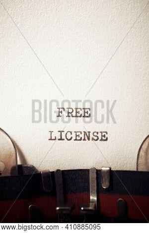 Free license phrase written with a typewriter.