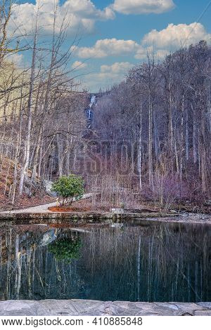 Amicalola Falls In Winter With Reflecting Pool