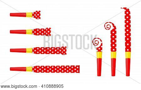 Party Noise Makers, Blowers Isolated On White Background. Rolled And Unrolled Red Polka Dot Sound Wh