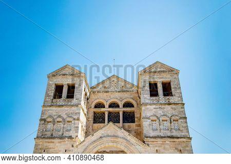 Nazareth, Israel. The Church Of The Transfiguration On Mount Tabor