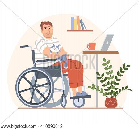 Young Disabled Person In Wheelchair With Cat And Laptop On Workplace. Cartoon Handicapped Man Charac