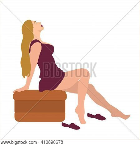 Fashion Young Beautiful Woman In Red Short Dress Sitting Sits On A Couch. Fashion Beautiful Sensual