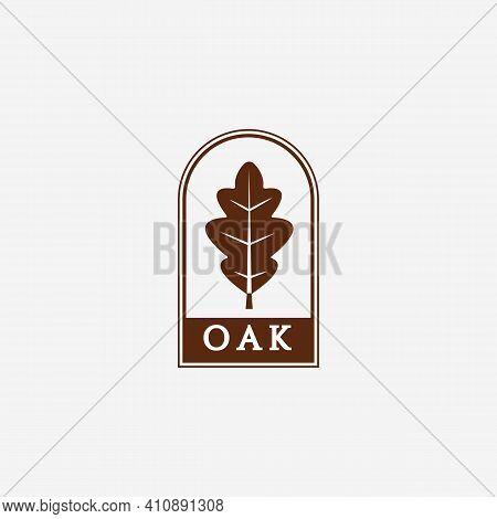 Simple Oak Leaf Logo Vector Vintage Design Illustration, Minimalist Oak Logo, Flat Logo Oak Leaf, Mi