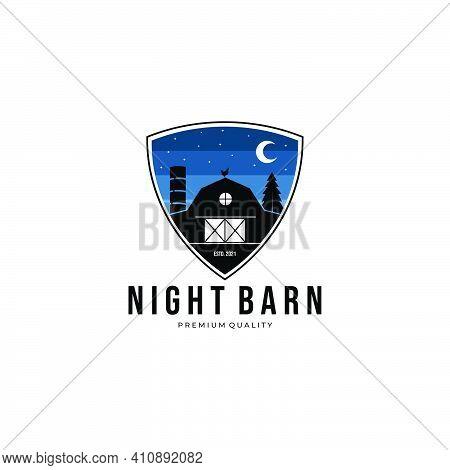 Night Forest Wooden Barn House Logo Vector Illustration Design Vintage
