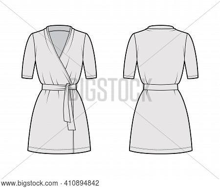 Wrap Dress Technical Fashion Illustration With Deep V-neck, Short Sleeves, Oversized, Mini Length, P