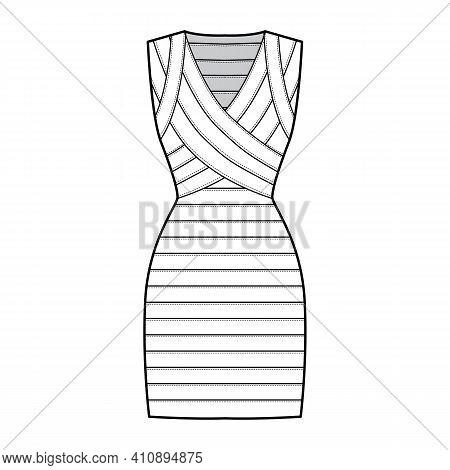 Bandage Dress Technical Fashion Illustration With V-neck, Sleeveless, Fitted Body, Elasticated, Knee