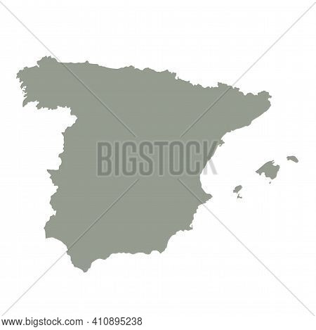 Silhouette Of Spain Country Map. Highly Detailed Editable Gray Map Of Spain, European Country Territ