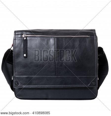 Black Men's Bag Made Of Artificial Leather. Bag With Flap And Zip Pocket. Wide Shoulder Strap Made O