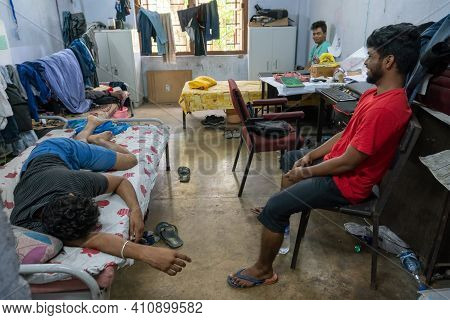 Howrah,west Bengal,india- 22nd April 2019 : Engineering Students Enjoying At Hostel Room Of Indian I
