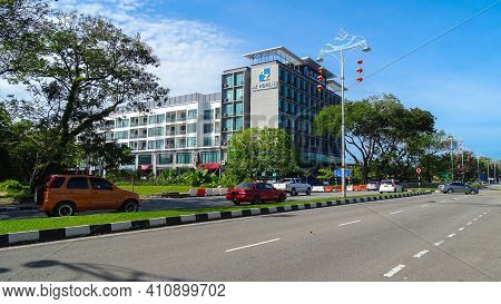 Labuan,malaysia-feb 20,2021:view Of The City Street With Building And Cars The City Of Labuan Ft, Ma