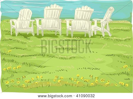 Illustration of Beach Chairs in Grassfield overlooking the sea