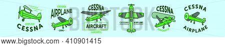 Set Of Cessna Plane Logo Cartoon Icon Design Template With Various Models. Modern Vector Illustratio