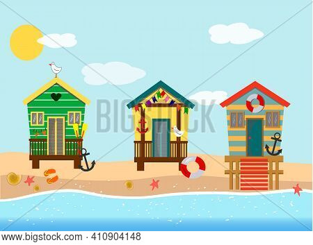 Illustration With Beach Houses By The Sea. Rest On The Sea - Beach, Sea, Sand, Sun And Various Attri