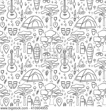 Hiking And Camping Seamless Pattern With Travel Elements. Seamless Pattern For Design, Posters, Back
