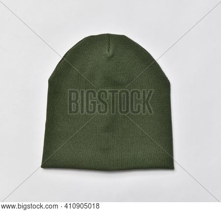 Green Modern Knitted Beanie Hat, Knitwear Isolated On White