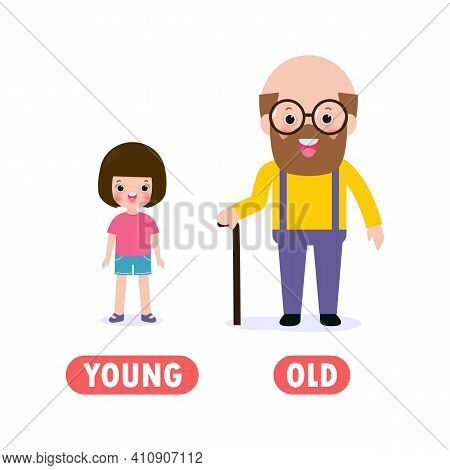 Opposite Young And Old, Words Antonym For Children With Cartoon Characters Happy Cute Young Girl And
