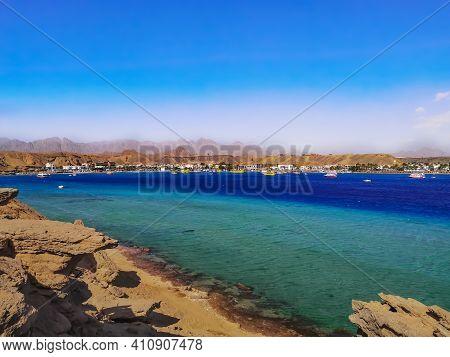 Wild Beach In Sharm El-maya Bay In Sharm El Sheikh (egypt). Beautiful Sea Panorama With Turquoise-bl
