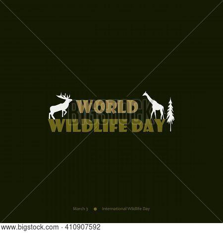 World Wildlife Day Vector Design Background, Poster, Banner, And Social Media Post. Deer, Zebra,