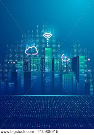 Concept Of Smart City, Graphic Of Buildings With Digital Technology Element