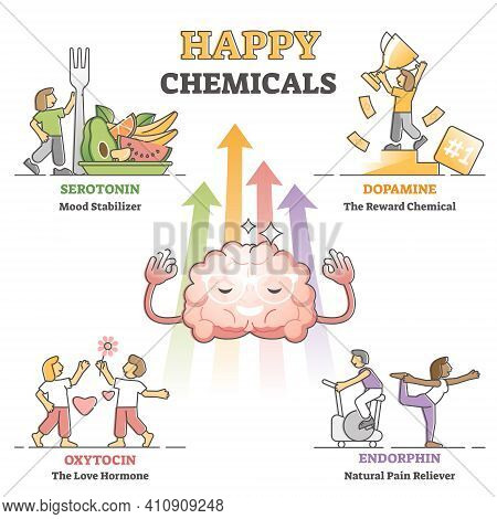 Happy Chemicals As Good And Positive Mood Hormonal Causes Outline Diagram