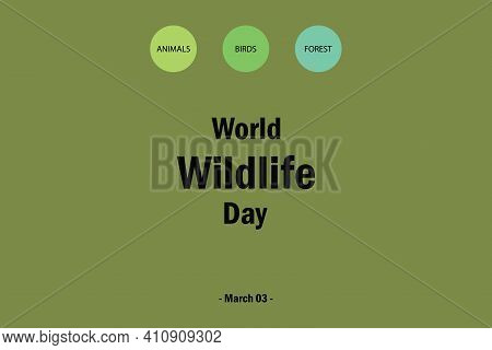 World Wildlife  Day Vector Design.  Birds, Animals, And Forest Combination Wildlife Environment. 03
