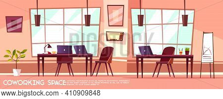Vector Cartoon Office Room, Coworking With Workplaces, Desks, Big Windows. Business Or Meeting Room