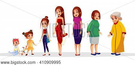 Woman Age Vector Illustration Of Female Generation Cycle. Women Life Stages From Child To Adolescenc