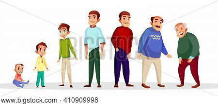 Vector Cartoon Male Character Growth And Aging Process. Happy People - Toddler Baby Kid, Teenager In