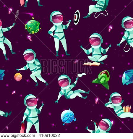 Vector Seamless Pattern With Funny Cute Spacemen Playing Darts, Basketball, Badminton Meditating, Ea