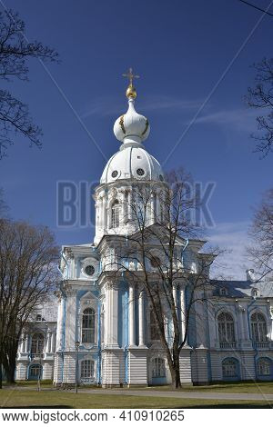 Saint Petersburg Russia, April 27 2015. Smolny Cathedral White And Blue Christian Orthodoxal Church