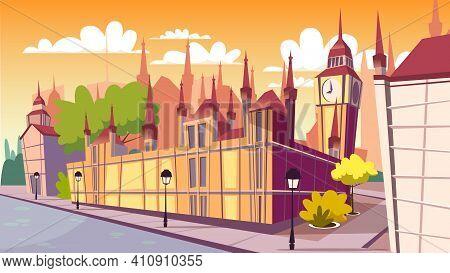 London Cityscape Vector Illustration. Cartoon London Famous Landmarks At Day, Big Ben Or Parliament