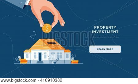 Property Investment Landing Page Template. Investors Hand Puts Coin Into The House As A Piggy Bank S