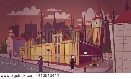 London Plague Epidemic Vector Illustration. Cartoon London Great Bubonic Plague Disease Or Halloween