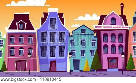 Amsterdam Cityscape Vector Illustration. Cartoon Amsterdam Streets And Traditional Old Houses For Du