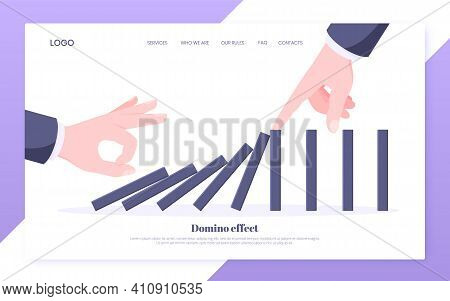 Domino Effect And Business Resilience Concept. One Hand Starts Chain Reaction Of Falling Board Game