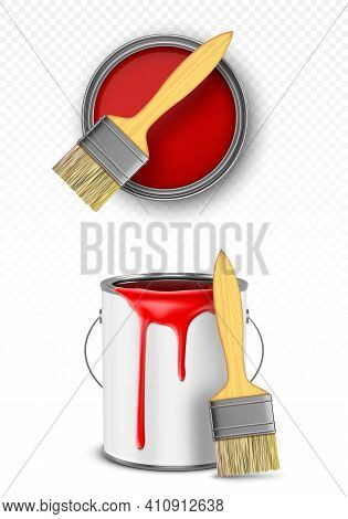 Paint Can With Brush, Tin Bucket With Red Dripping Drops Top And Front View, Metal Pot, Container Wi