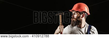 Handyman Services. Industry, Technology, Builder Man, Concept. Bearded Man Worker With Beard, Buildi