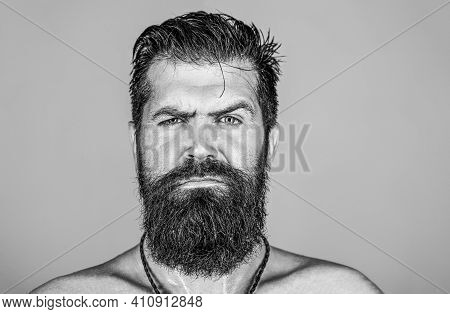 Hipster Man With Beard, Mustache. Handsome Brutal Male. Sexy Closeup Portrait Of Brutal Handsome Mal