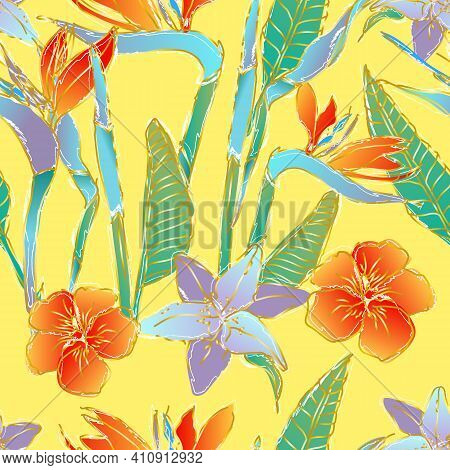 Seamless Pattern With Tropical Flowers And Leaves Of Strelitzia And Lily. Crane Flower Or Bird Of Pa