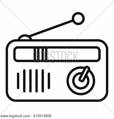 Portable Radio Icon. Outline Portable Radio Vector Icon For Web Design Isolated On White Background